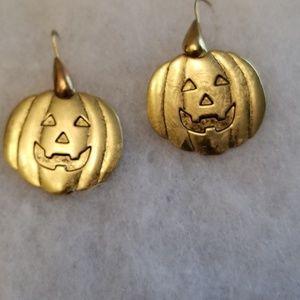 Vintage Gold Tone Pumpkin Dangles